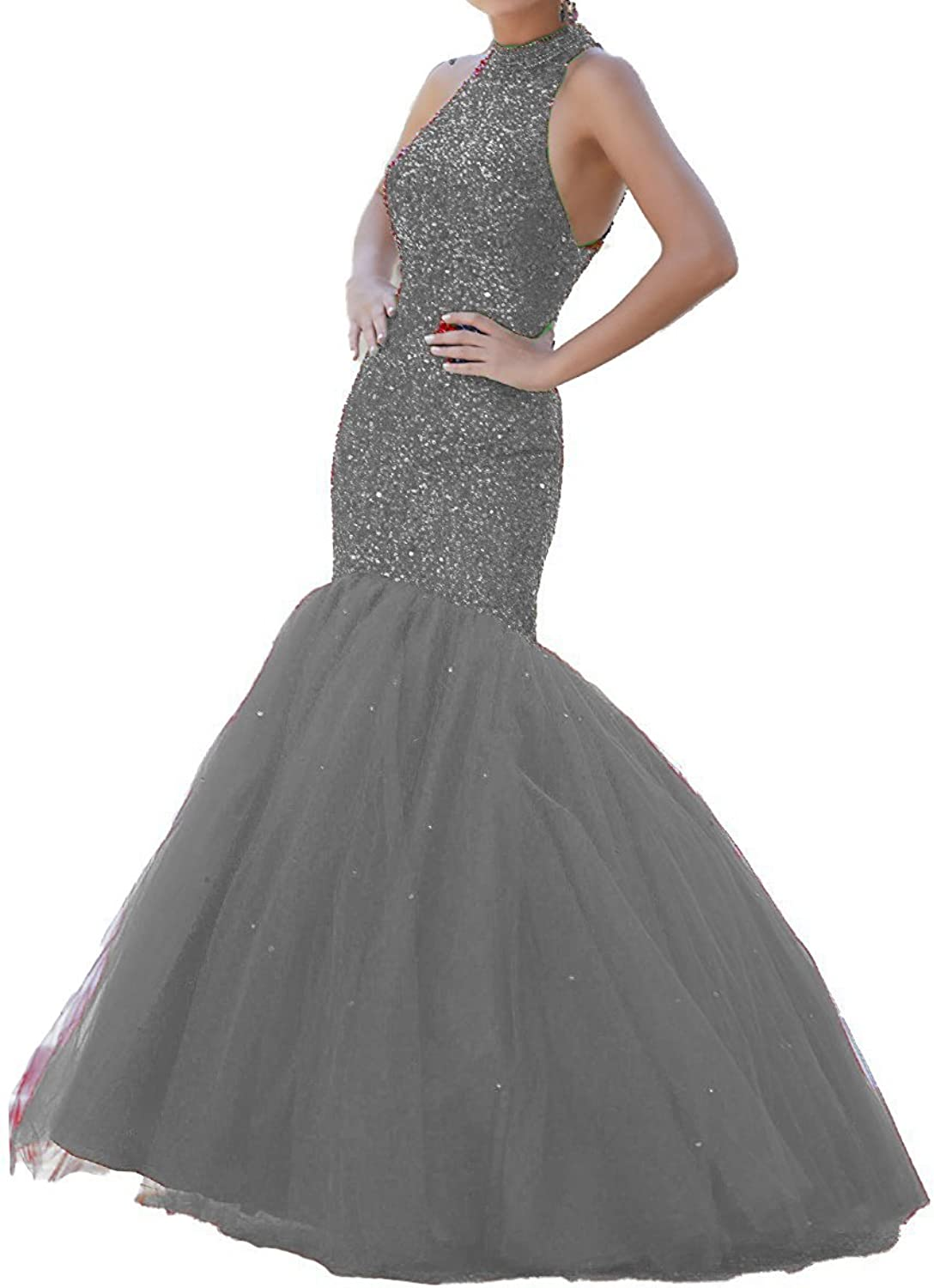 Sound of blossoming Halter Beads Mermaid Prom Dress Keyhole Back High Neck Tulle Long Evening Formal Party Gown 024
