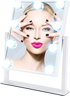 MESHA Hollywood Makeup Mirror with Lights Large Lighted Makeup Mirror LED Vanity Makeup Mirror Smart Touch Control 3Colors Light 360°Rotation,White