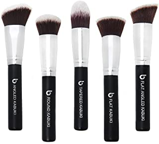 Kabuki Face Makeup Brush Set – Best 5 pc Large Face Brushes for Foundation, Blush, Bronzer, Concealer, Mineral Powder Cosmetic Professional Applicator Soft Dense Synthetic Vegan Brochas de Maquillaje
