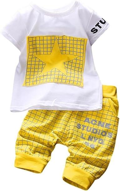 K-youth Conjuntos Bebé Niño, Ropa Recién Nacidos Bebe Niño Camiseta Mangas Cortas Enrejado Estrellas Cartas Estampado Tops y Pantalones Verano Ropa ...