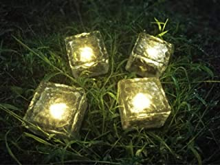 Solar Brick Lights Solar Ice Cube Light Brick Rock Lamp Frosted Glass Landscape Led Lights for Garden Path Patio Outdoor Decoration 4PCS Warm White