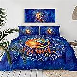 Dibujos Animados Naranja DragóN Juego De Cama 3D Imprimir Azul Galaxia Acuarela Funda Nordica PoliéSter Textiles Adolescente NiñOs Adulto, 260x220cm, 3 Piezas (1 Funda NóRdica 2 Funda Almohada)