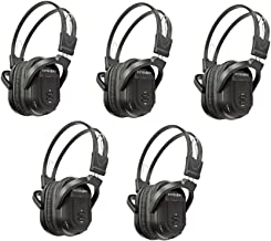 5 Pack of Two Channel Folding Universal Rear Entertainment System Infrared Headphones Wireless IR DVD Player Head Phones for in Car TV Video Audio Listening