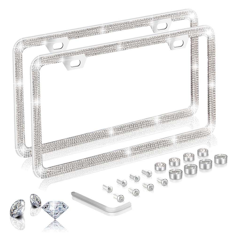 Baosity License Plate Frame Stainless Steel Screws and Flat Caps Cover Silver