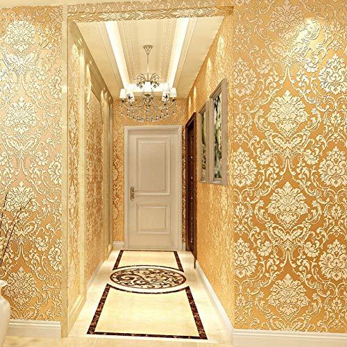 10m * 0,53m / Vlies 3D-Beflockung dicke Goldtapete Hotelzimmer Schlafzimmer Tapete geprägte dekorative Tapete