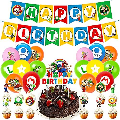 Globo de Mario Bros, BESTZY Decoración de Cumpleaños de Mario, Pancarta de Feliz Cumpleaños Compacta, Decoración de Globos Para La Fiesta de Cumpleaños de Los Niños