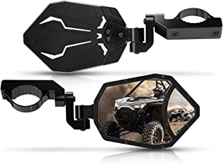 "UTV Rear View Side Mirrors, KEMIMOTO 3 Adjustment Methods CNC Mirrors with Convex Mirror Compatible with Polaris RZR PRO XP, Can Am Maverick X3 or 1.6""-2"" Roll Bar"