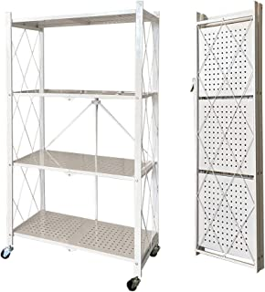 4-Tier Foldable Storage Shelves, Stand Folding Metal Shelf with Caster Wheels for Garage Kitchen Home Closet Office, No As...