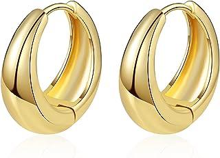 گوشواره های حلقه ای زنانه UILZ ، کوچک گوشواره های طلای نقره ای 14K و نقره ای Huggie زیبا