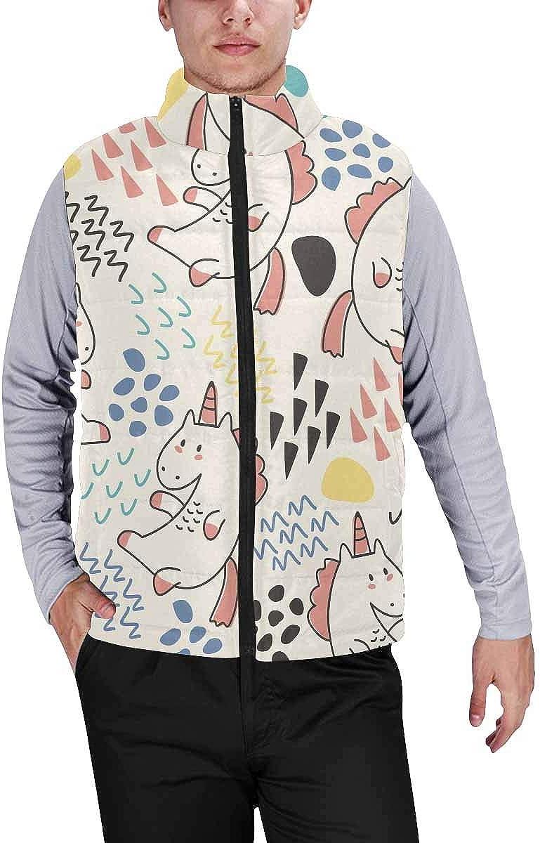 InterestPrint Men's Winter Lightweight Sleeveless Padded Vest Cute Unicorns Colors Background XXL