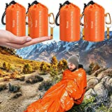 Timok Emergency Sleeping Bags 4PCS Thermal-Emergency-Blankets Ultralight Space Blankets Survival Waterproof Bivy Sack Multi-Purpose Survival Gear for Hiking, Camping, First Aid Kits