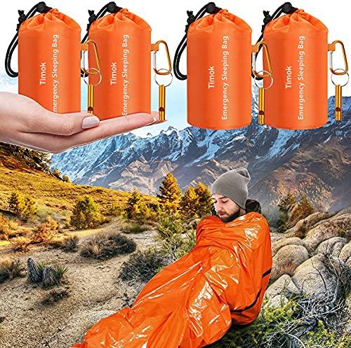 Timok Emergency Sleeping Bags 4PCS Thermal-Emergency-Blankets Ultralight Space Blankets Survival...