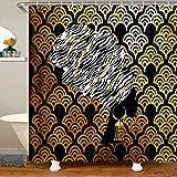 Loussiesd Cortina de ducha con ganchos de escamas de pez dorado para decoración de baño, cortina de ducha para niños con purpurina oceánica marina impermeable, 180 x 180 cm