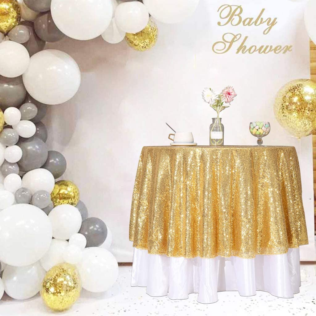 Juya Delight New Gold Al sold out. Max 69% OFF Sequin Tablecloth 50 Round for Weddin Inch