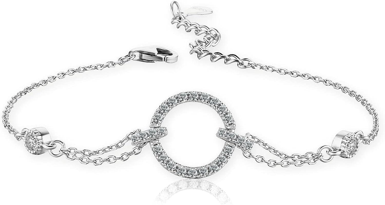 MOCAS Circle Bracelet for Women 925 Sterling Silver with Sparkli
