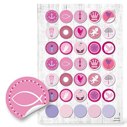 2 x 35 Stück runde 3 cm rosa rose pink farbene KINDER KOMMUNION TAUFE Aufkleber zur Verpackung mit Fische Anker Segelboot Schiff Engel Krone Kreuz Herz zur Deko Fest Geburtstag Mädchen