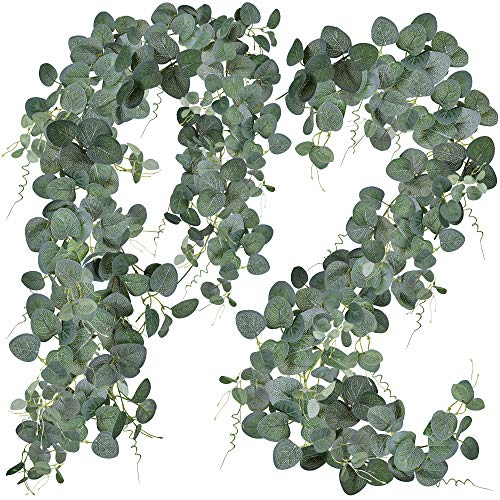 2 Pcs Eucalyptus Garland Artificial Greenery Garland Face Silver Dollar Eucalyptus Leaves Table Runner Garland Ivy Vine Greenery for Wedding Arch Jungle Party Backdrop Baby Shower Christmas Decoration