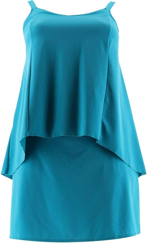 Denim & Co Beach Hi-Low Tankini Swimsuit Skirt Teal 6 New A303155