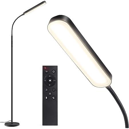 Outon Lampadaire LED 15W 1500LM, Lampe sur Pied Moderne Réglable avec 4 Température de Couleur, Télécommande et Contrôle Tactile, Minuterie 1 Heure Lampe pour Lecture Salon Bureau Chambre, Noir
