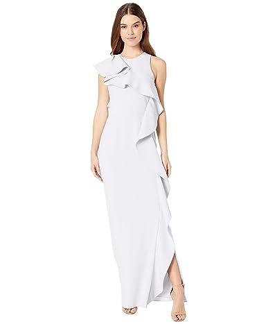 Halston Flounce Crepe Gown (Slate Grey) Women