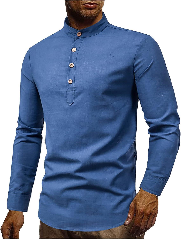 Xiloccer Mens Collared Shirt Cotton Linen Shirts Men's Turtleneck Shirts & Tops Long Sleeve Best Workout Shirts for Men