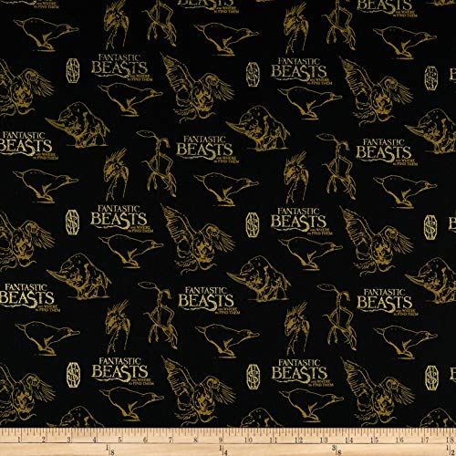 Camelot Fabrics Wizarding World Fantastic Beasts Logo & Creatures Fabric, 1, Black with Metallic, Fabric by the Yard