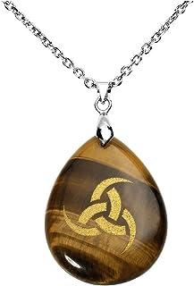 qgem Triple cuerno de Odin King de Asgard necklace-natural Gemstone colgante de peltre grabado vintage Viking Rune con cad...