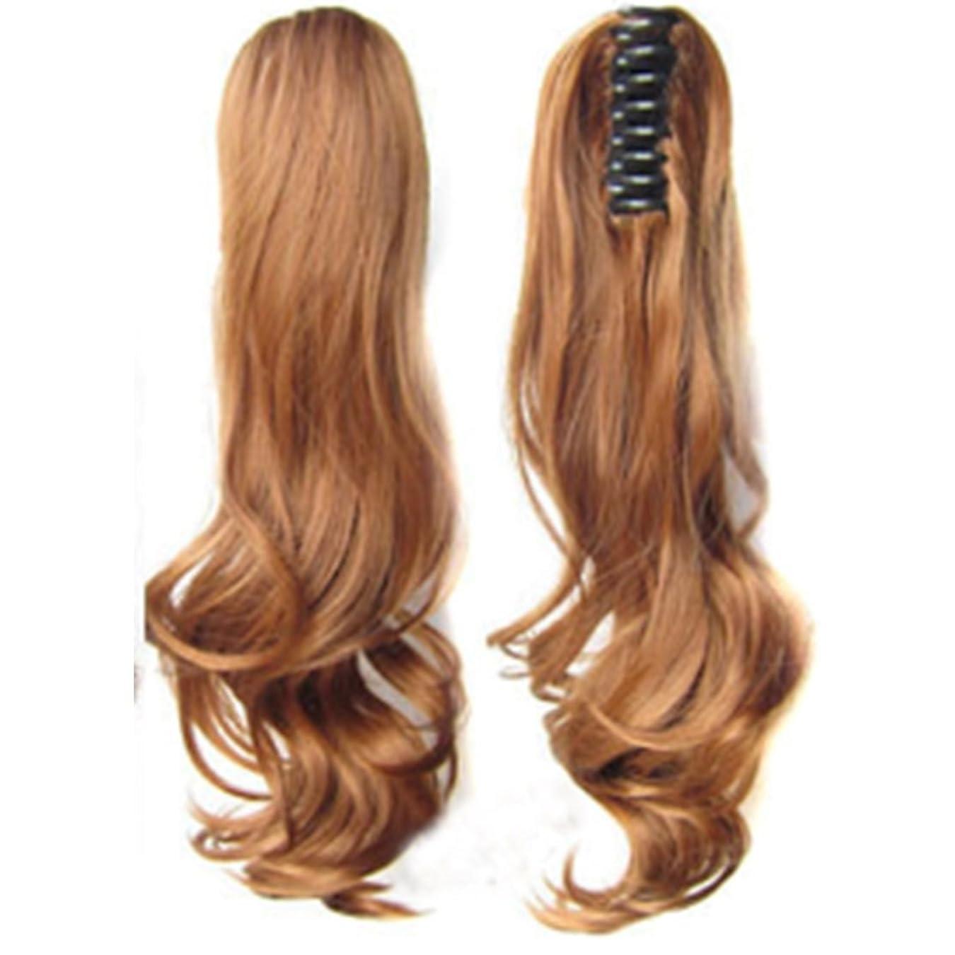 春スマッシュ謙虚なKoloeplf 長さ55cm、200g高温ウィッグの髪の延長のシルクのカーリーポニーテールクリップ (Color : 金色)