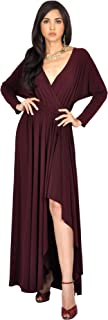 KOH KOH Womens Sleeve Wrap Slit Formal Fall Winter Cocktail Gown