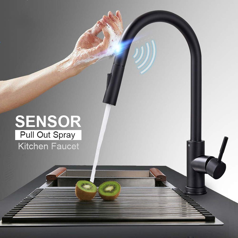 ZHUAPP Edelstahl-Sensor Küchenarmaturen schwarz Touch Induktiv Empfindliche Wasserhahn Mischbatterie Einhand Dual Outlet Wassermodi