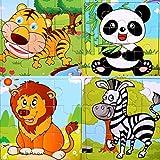 SIPLIV Rompecabezas de Madera Rompecabezas de 9 Piezas para niños de 2 a 5 años, Conjunto de 4, Animales del Bosque A