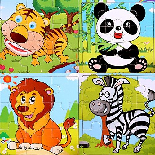SIPLIV Puzzle in Legno Puzzle a 9 Pezzi Adatto per puzzle bambini 2-3 Anni,Set di 4, Foresta animali A