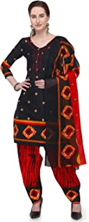 Rajnandini Black Cotton Salwar Suit For Women (Ready To Wear)(One Size)