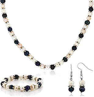 Multi-Color Cultured Freshwater Pearl Necklace Earrings Bracelet Set 7-8MM 18inches