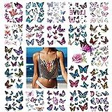 3D tatouage ephemere femme, 170 x Fleur Papillon Tatouages temporaire pour Enfants Fille, Étanche décalcomanie Tatoo de fête d'anniversaire Cadeau