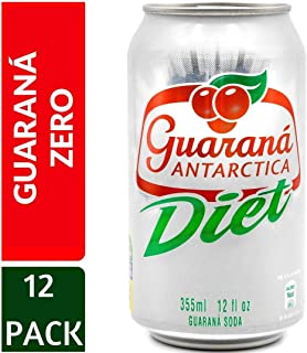 Guarana Antarctica, Diet Guaraná Flavoured Soft Drink, Made from Amazon Rainforest Fruit, Imported from Brazil, 350ml, (Pack of 12)