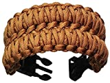 unbrand Survival Paracord Survival Bracelet - Hiking Multi Tool, Emergency Whistle for Hiking, Camp Fire Starter 4-in1 Set (Brown)