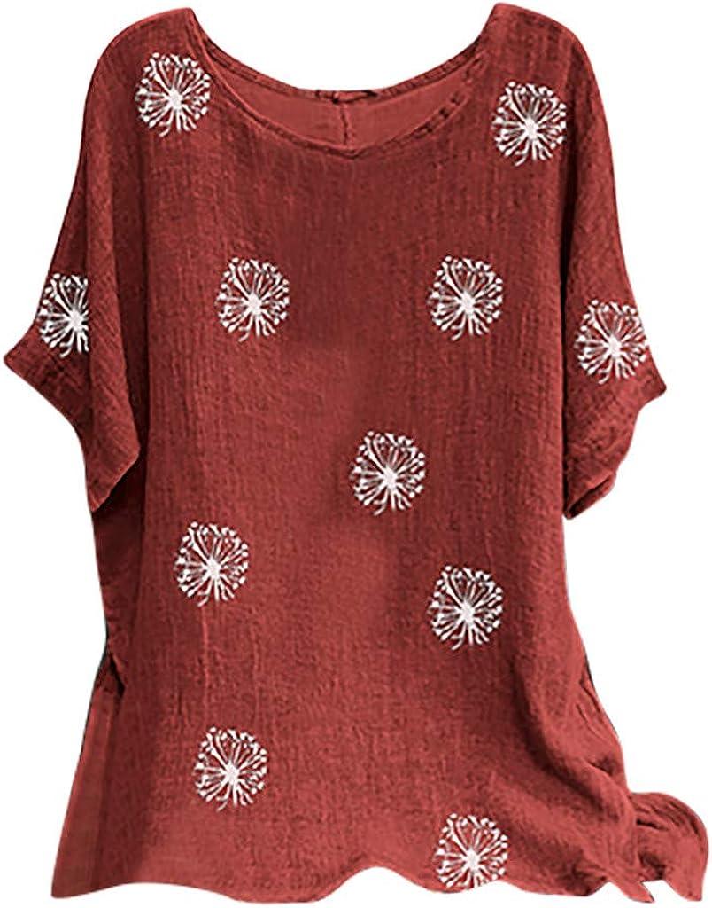 Woman Vintage Cotton-Blend O-Neck Short Sleeve Floral Print Top T-Shirts Blouse