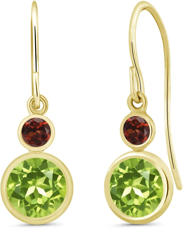 2.04 Ct Round Green Peridot Red Garnet 14K Yellow gold Earrings