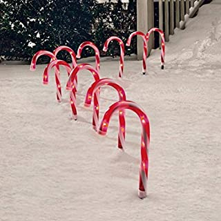 Candy Cane Pathway Markers Set of 10 Christmas Indoor/outdoor Decoration Lights