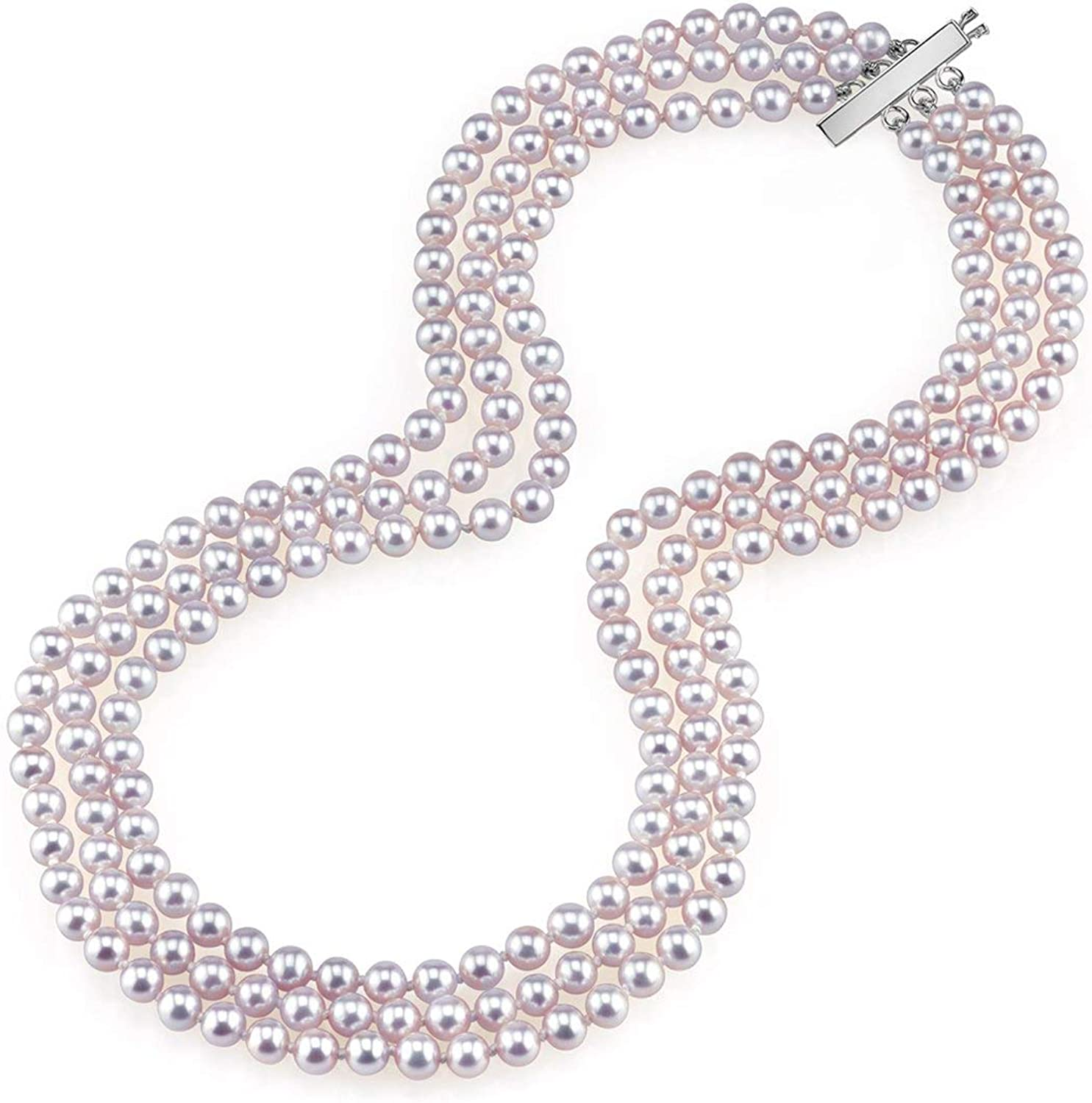 THE PEARL SOURCE 14K Gold AAAA Quality Round Pink Freshwater Cultured Pearl Triple Strand Necklace for Women in 17-19