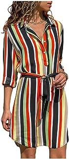 loveinfinite 2019 Summer Chiffon Boho Beach Dresses Women Casual Striped Print A-line Mini Party Dress