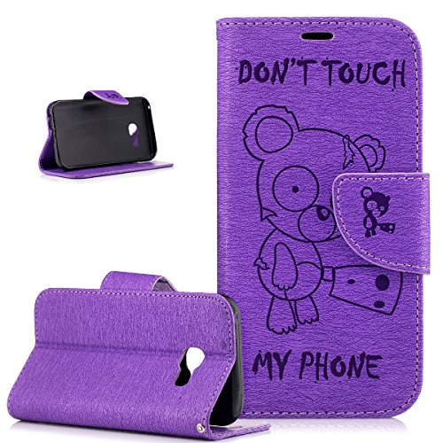Coque Galaxy A3 2017,Etui Galaxy A3 2017,Gaufrage Tronçonneuse ours Don't Touch Py Phone Housse Cuir PU Etui Housse Coque Portefeuille supporter Flip Case Etui Housse Coque pour Galaxy A3 2017,Violet