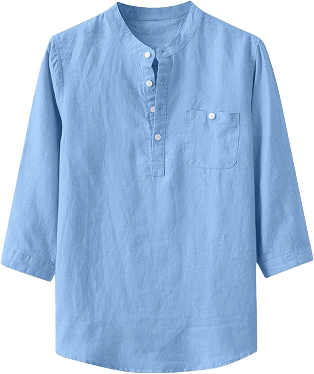 Men's Shirts Casual Cotton Linen 3/4 Sleeve Soild Button-Up Baggy Henley Shirts with Pockets