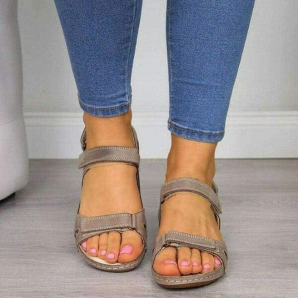 sandali sportivi con chiusura a strappo premium comodi Sandali in pelle open toe ortopedici da donna di ultima generazione scarpe casual con zeppa di supporto ad arco piatto per escursioni estive