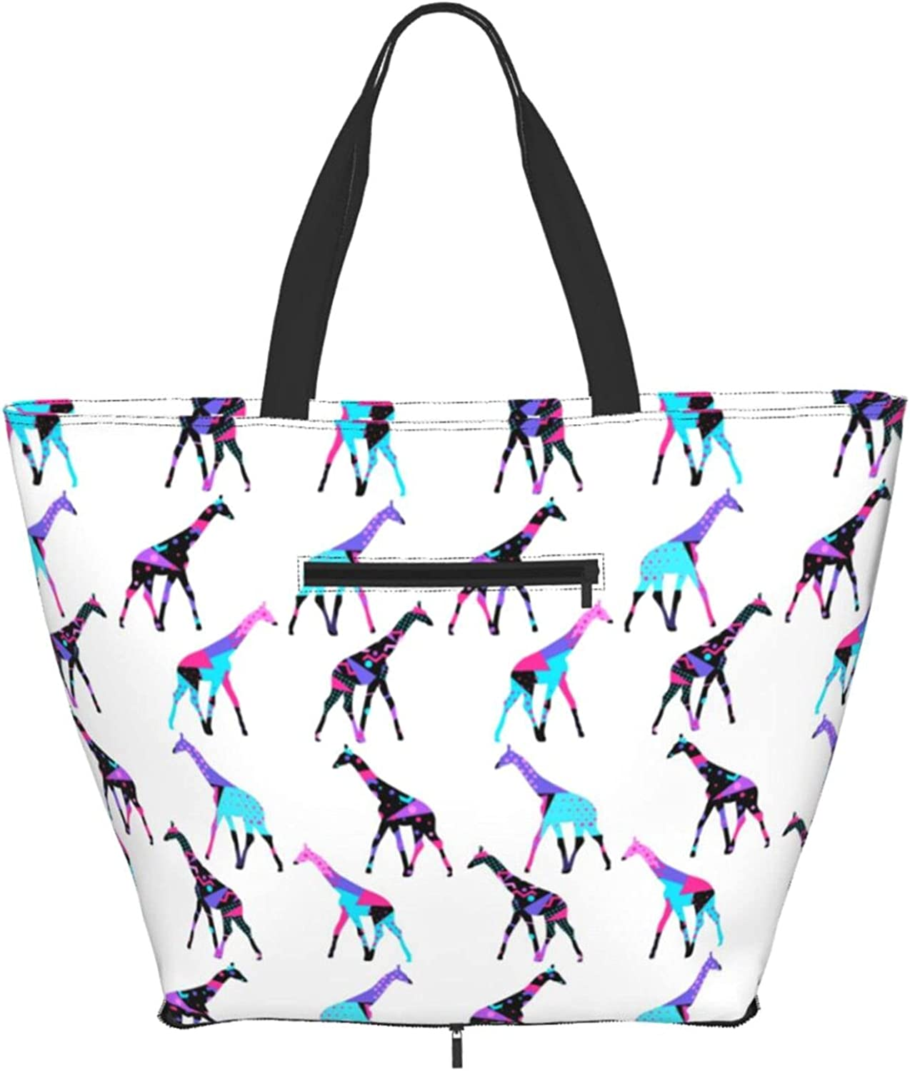 Shoulder Tote Bag Colorful Giraffe Purse Pattern H Geometric Top SEAL limited product Seasonal Wrap Introduction