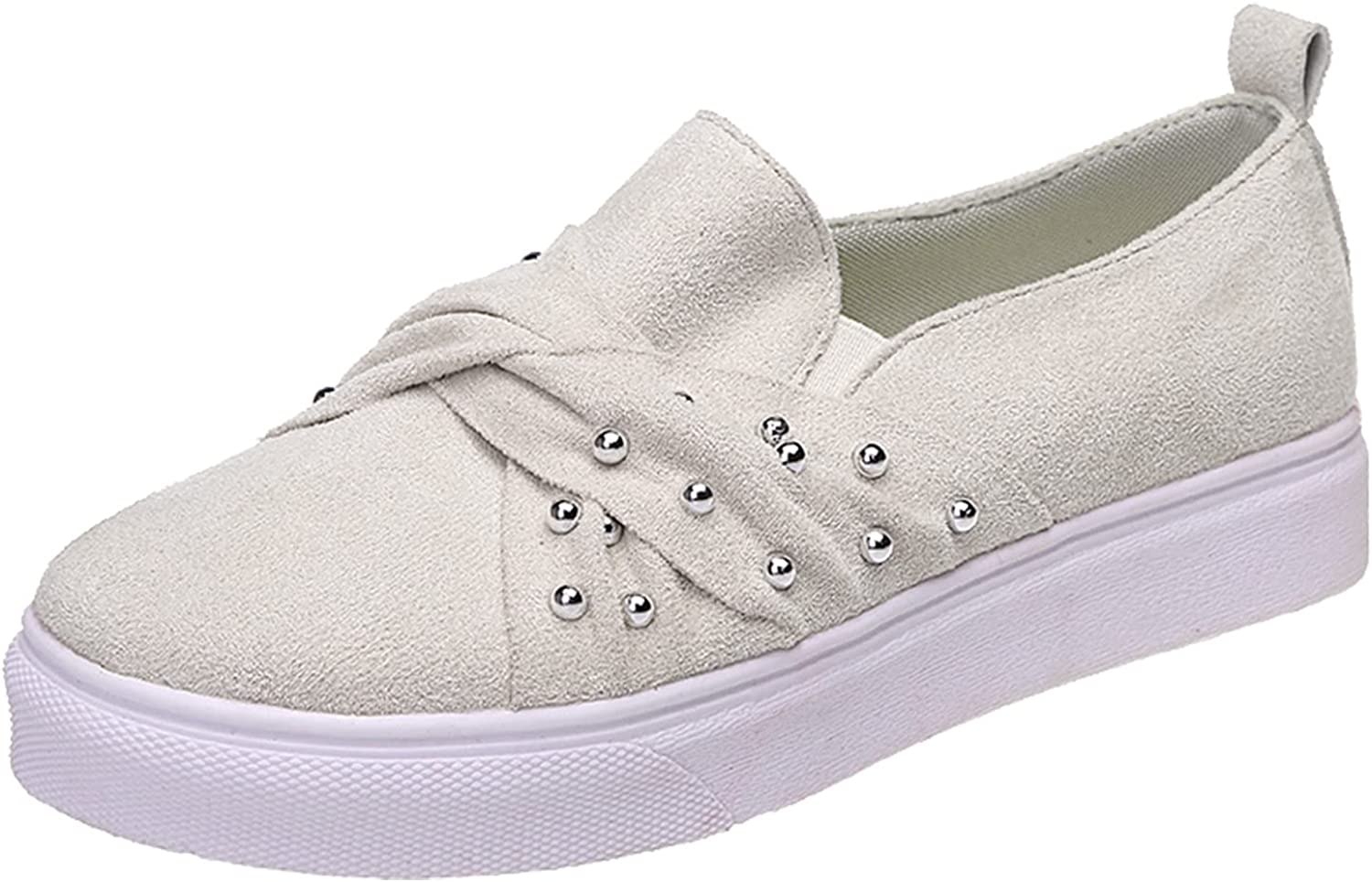 DRAGONHOO Fashion Women's Casual Shoes Breathable Slip-on Flats Outdoor Leisure Sneakers Tennis Shoes for Women White Tennis Shoes Womens White Sneakers