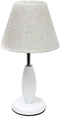 Relaxdays 10018920 Lampe de table luminaire avec abat-jour en tissu beige socle en bois blanc