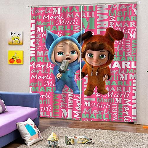 WAFJJ 3D mörkläggningsgardiner tecknade serier och barn 2 paneler anti-UV termiskt mörkläggningtryck jul personlighetsgardiner, inklusive krok och romerska ringar storlek: 66 tum x L 22 cm