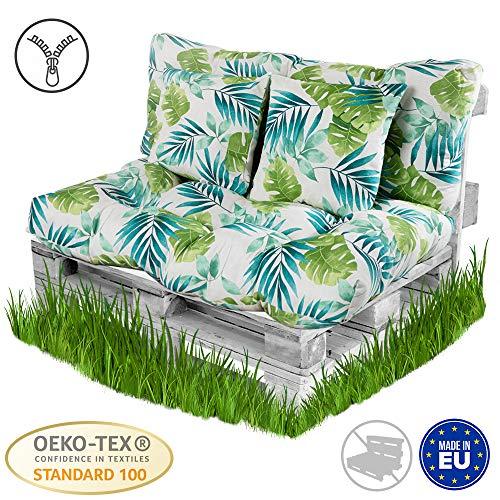 Set di 2: 1x Cuscino per Seduta 120x80cm Antracite POKAR Cuscino per Pallet sfoderabile 1x Cuscino per Schienale 120x40cm Divano per Pallet con Cuscino per Pallet Senza Pallet